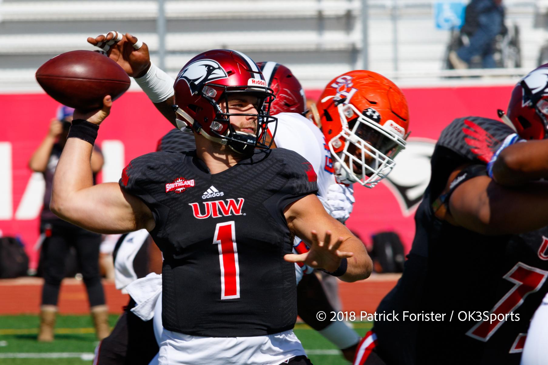 College Football Uiw 43 Sam Houston 26 Jon Copeland Passes Cardinals To Victory Ok3sports